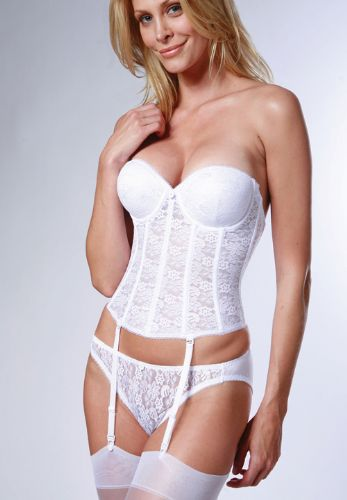 Deep Plunge Low Back Push Up Basque in Lace